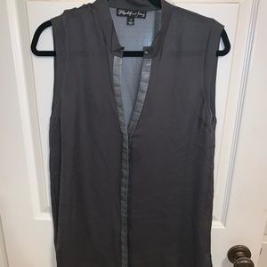 Elizabeth and James Leather Trim Tank Top Blouse